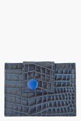 Raf Simons Navy Crocembossed Leather Cardholder - Lyst