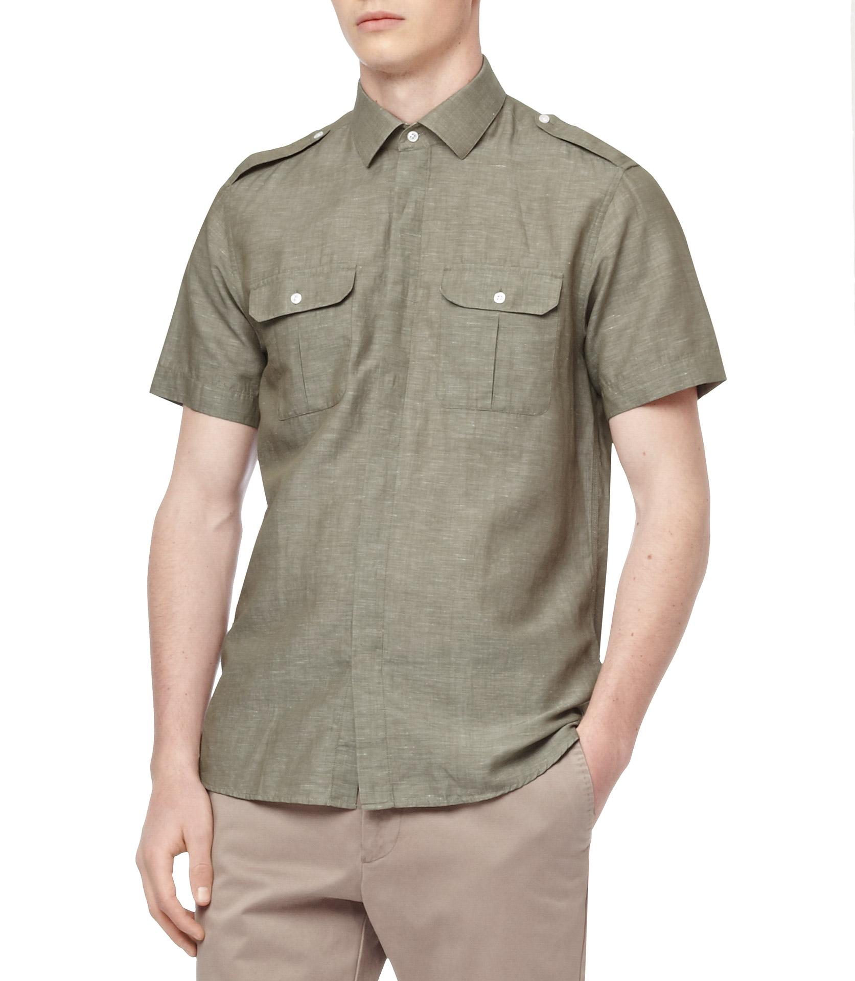 Reiss Amazon Short Sleeve Two Pocket Safari Shirt In Green