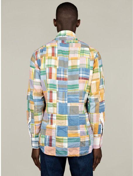 Thom browne mens classic buttondown patchwork madras shirt for Mens madras shirt sale