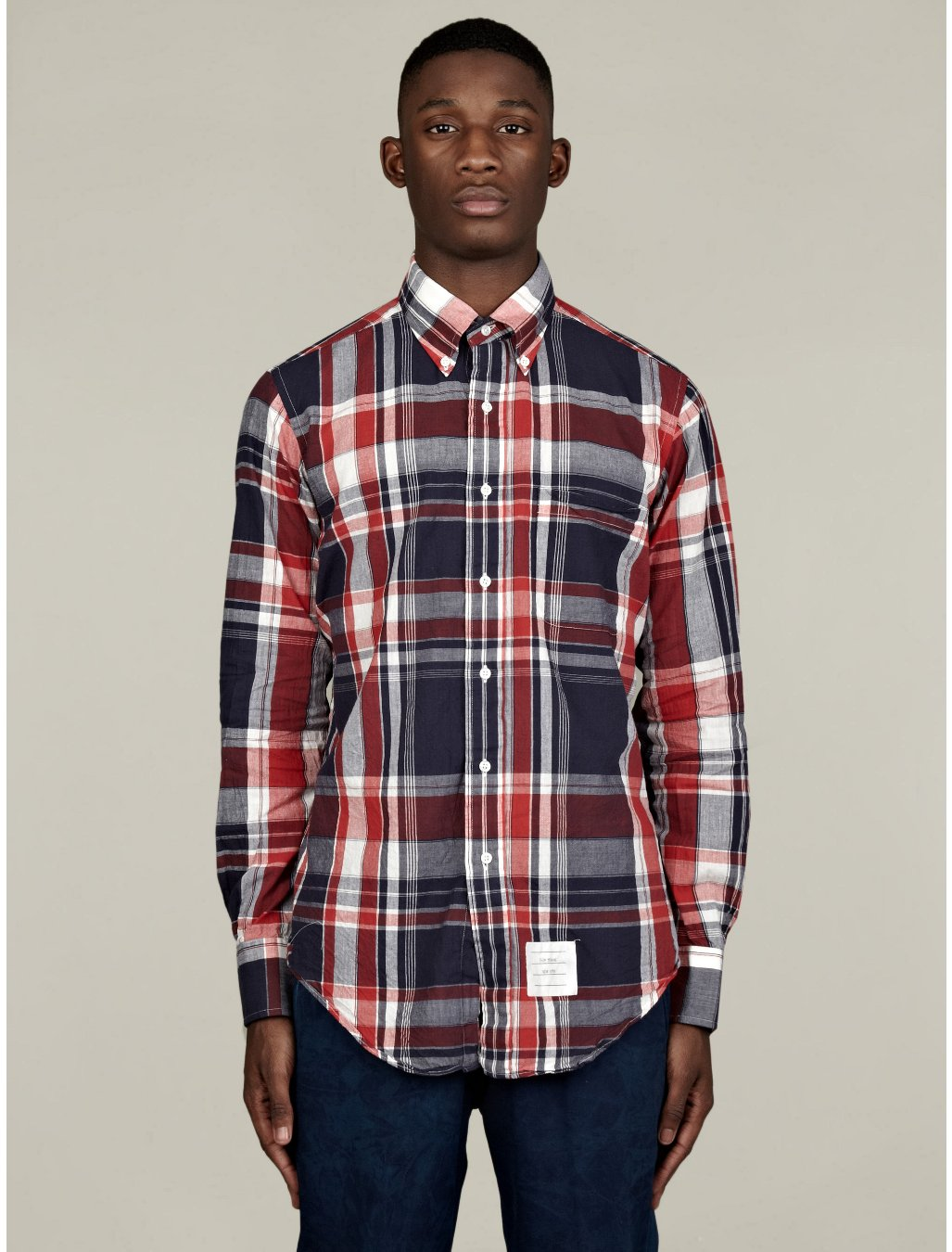 Thom browne mens buttondown madras check shirt in red for for Mens madras shirt sale