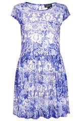 Topshop Capped Sleeve Lace Dress - Lyst
