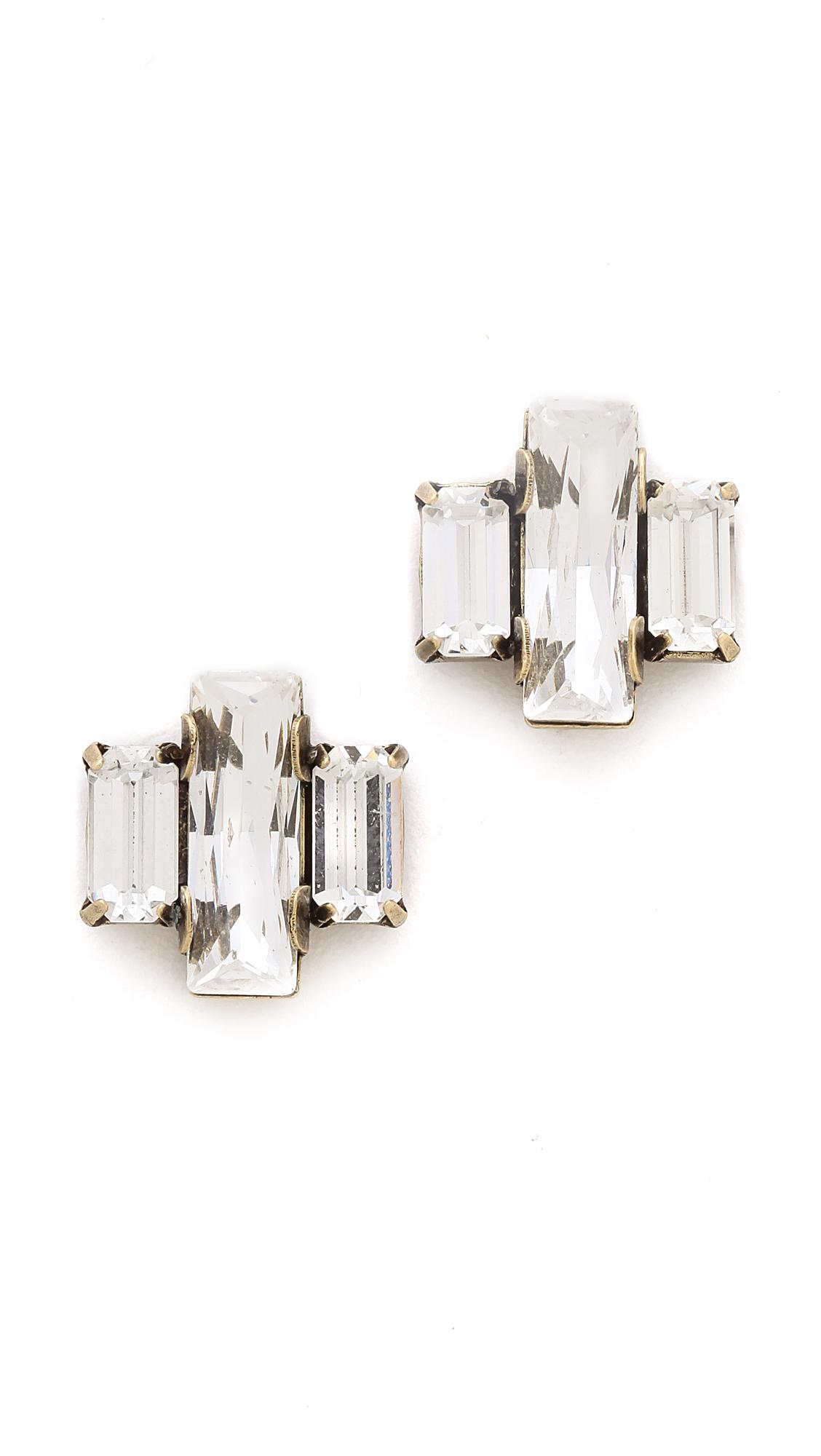 Auden Crystal Baguette Trio Stud Earrings WSvbh7G7HD
