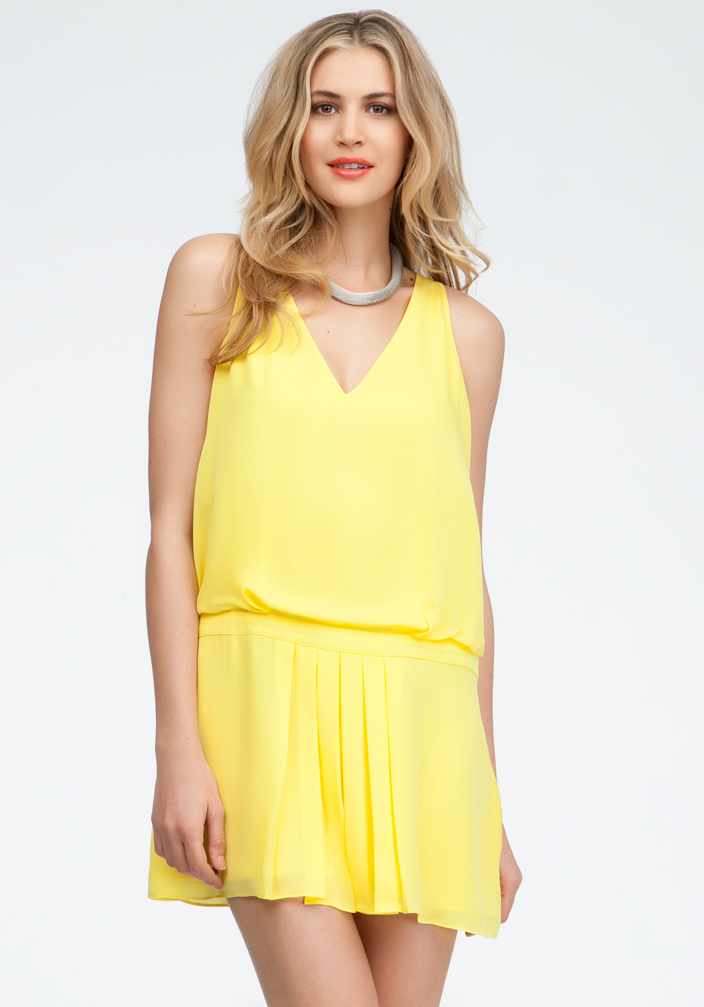 Lyst Bebe Drop Waist Pleated Silk Dress In Yellow