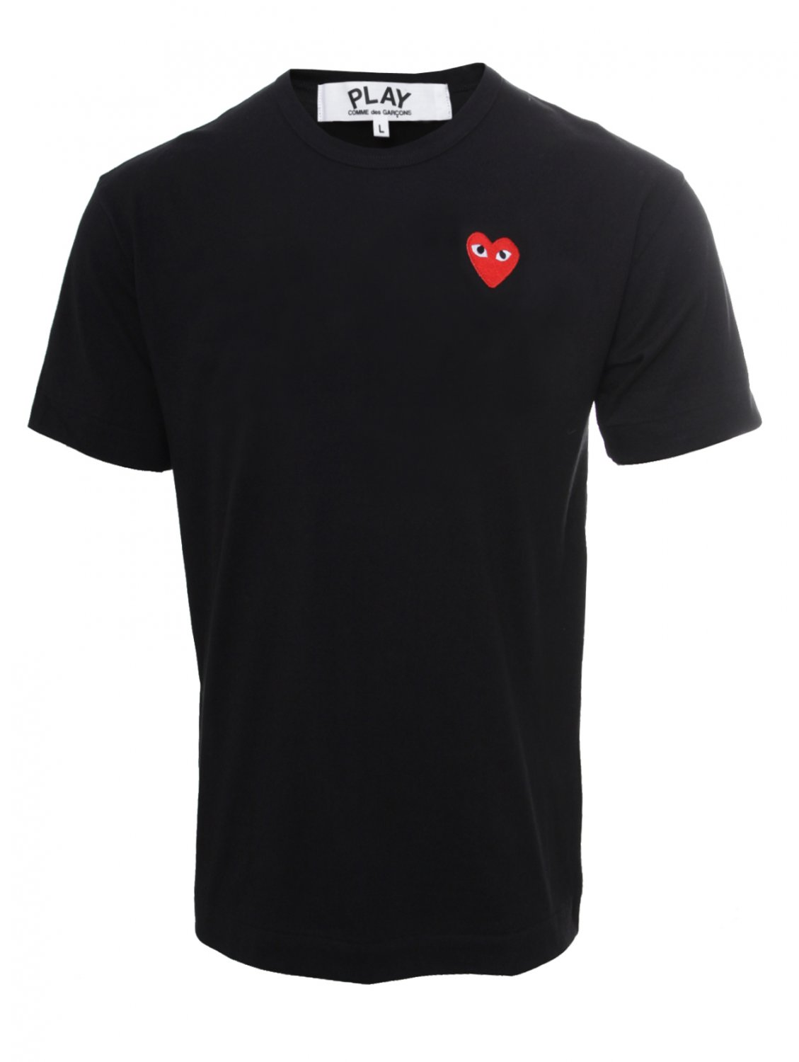 comme des gar ons play mens red heart t shirt black in red. Black Bedroom Furniture Sets. Home Design Ideas