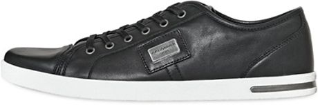 Dolce & Gabbana Uk Logo Plaque Leather Sneakers in Black for Men