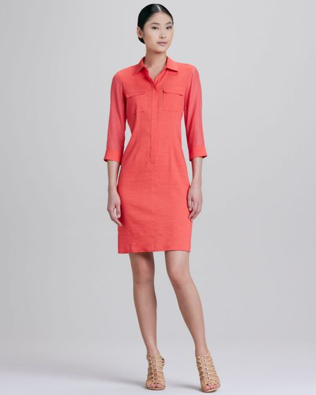 elie tahari austin placket shirt dress in pink crushed