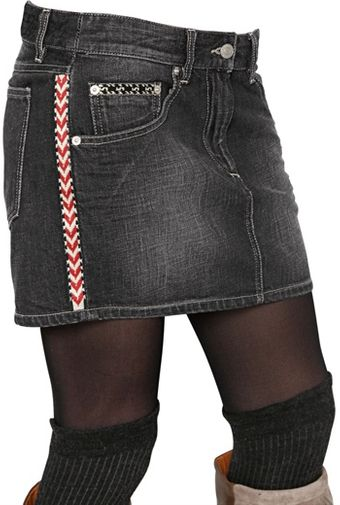 Etoile Isabel Marant Embroidered Cotton Denim Skirt - Lyst