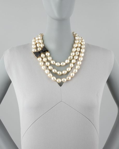 Kate Spade Bowdetailed Pearl Necklace In Black