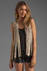 Ladakh Nevada Fringe Vest in Beige (cream) - Lyst