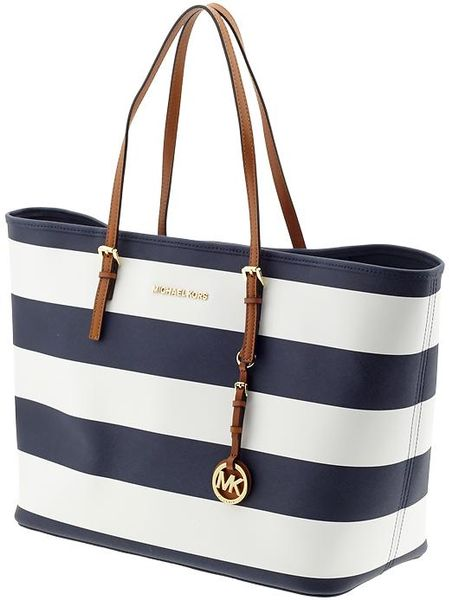 Michael By Michael Kors Jet Set Travel Medium Tote in Blue (navywhite ...