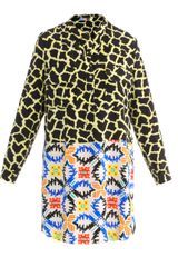MSGM Contrast Print Collarless Dress - Lyst