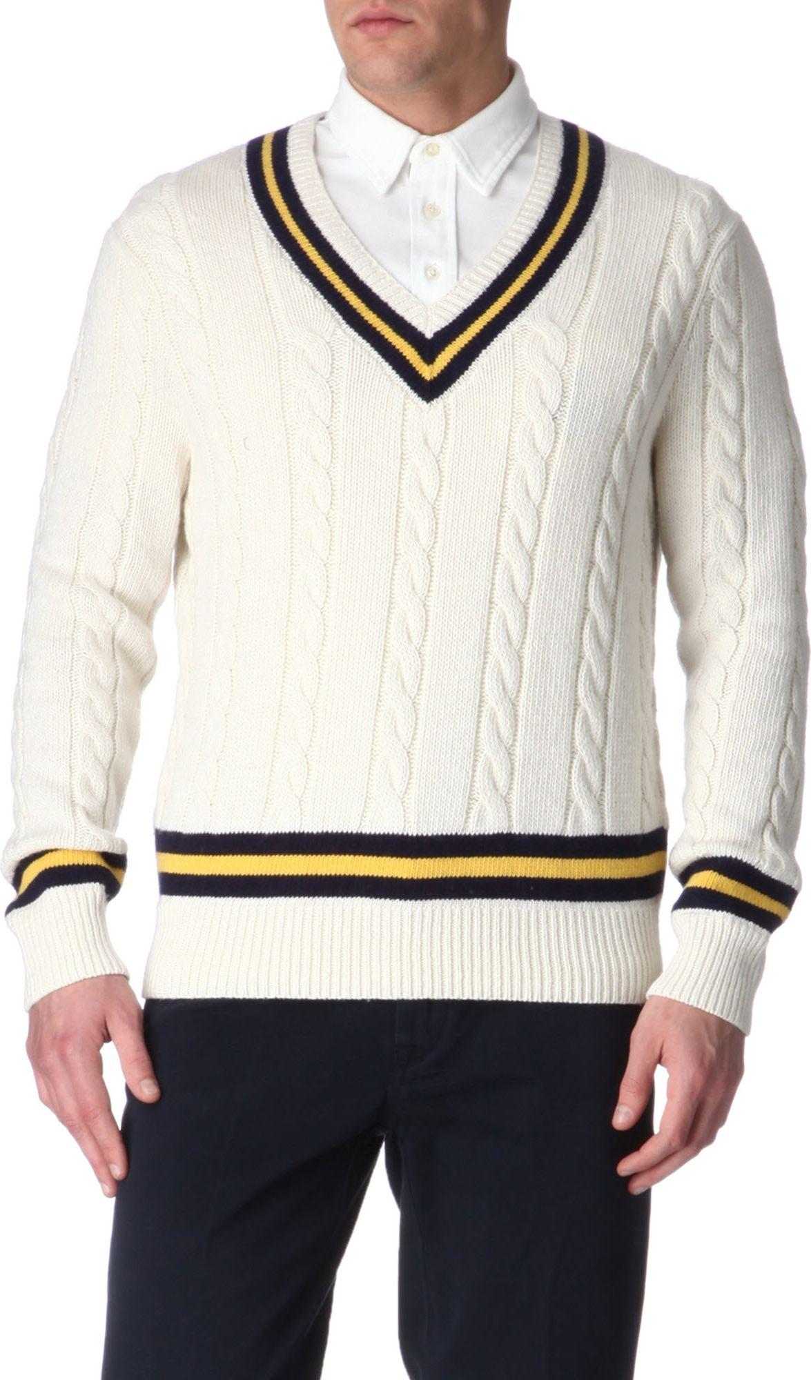 Ralph Lauren Cricket Cableknit Jumper In White For Men