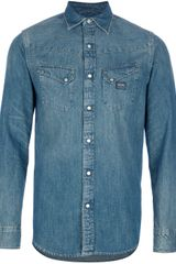 Ralph Lauren Aged Wash Denim Shirt - Lyst