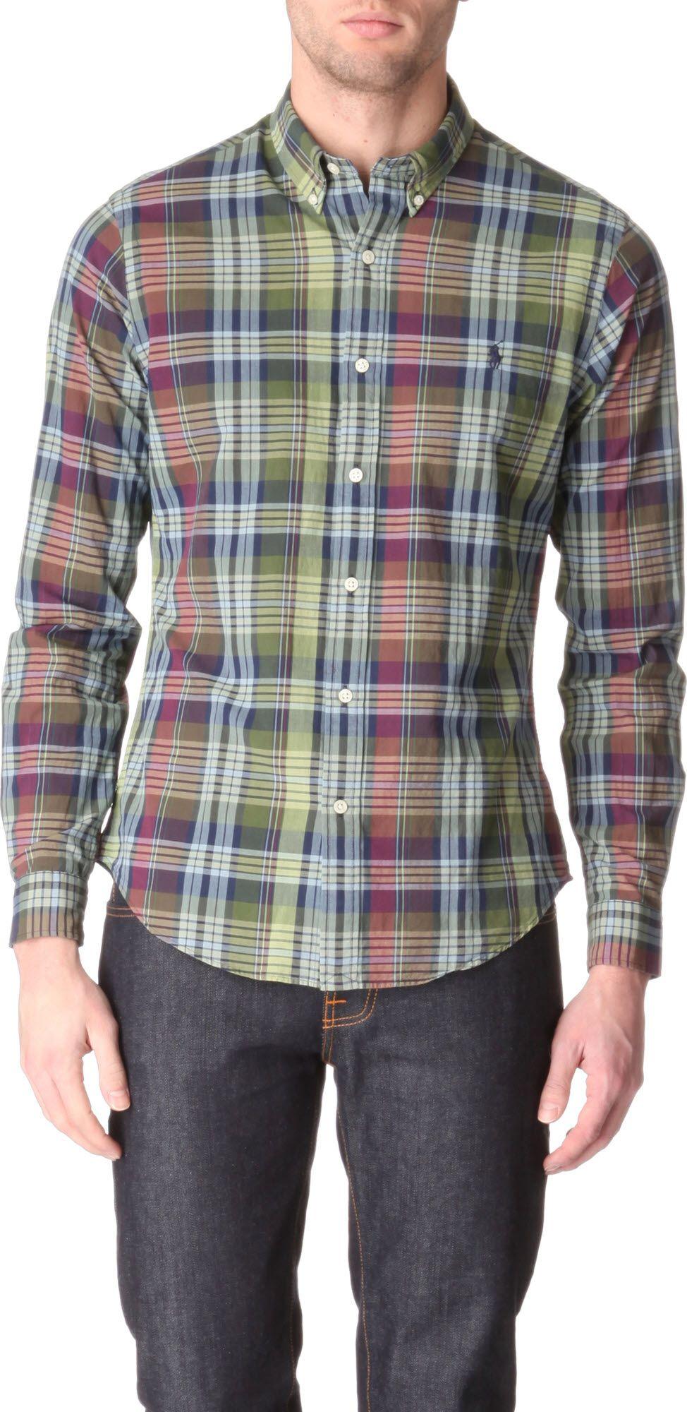 Ralph lauren plaid slimfit single cuff shirt in multicolor for Single cuff dress shirt