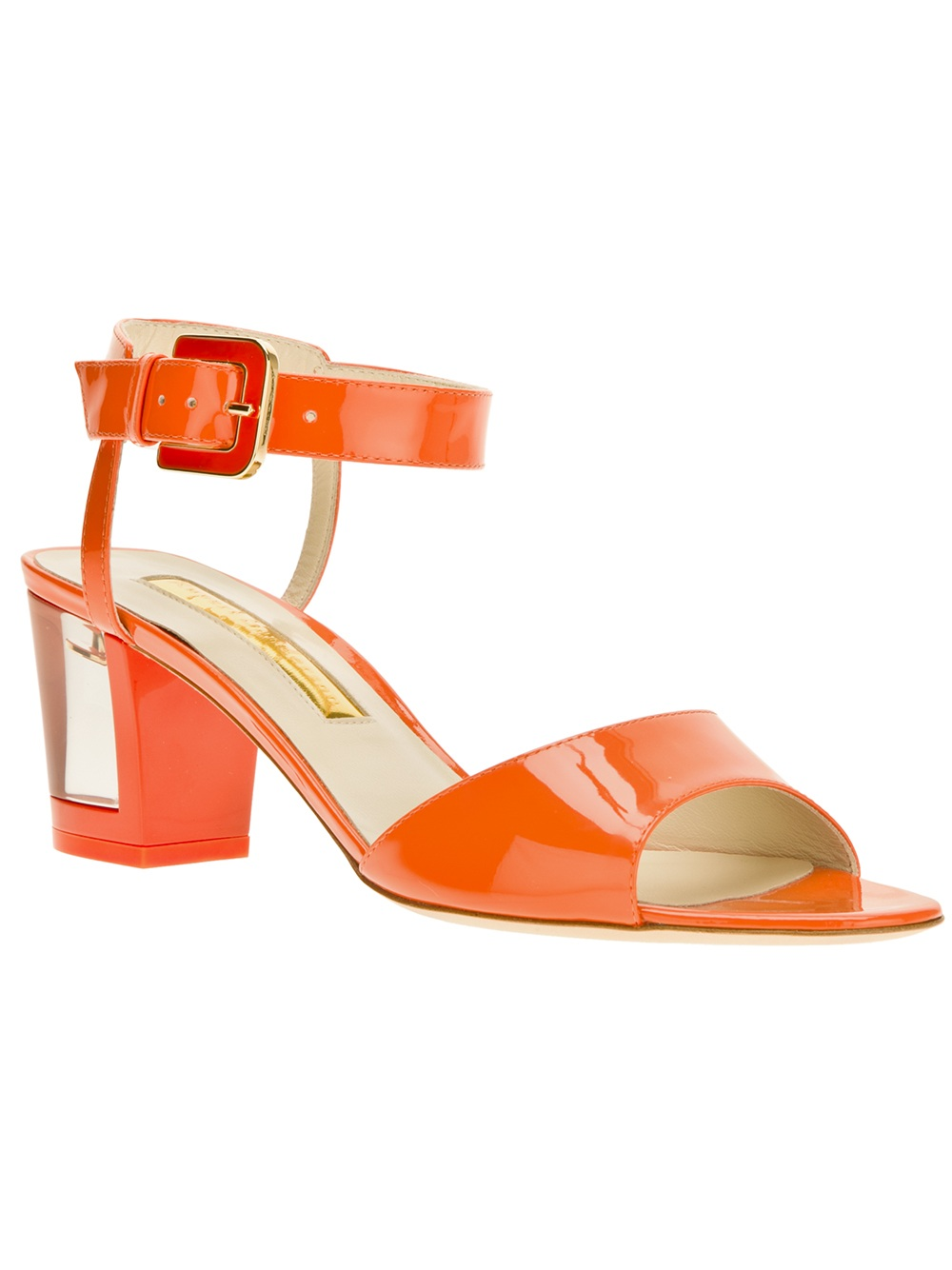 bd0143a413f Lyst - Rupert Sanderson Block Heel Sandals in Orange