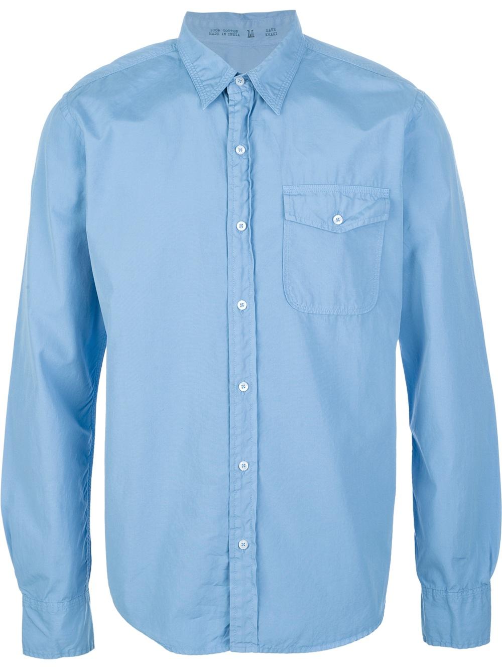 save khaki button down shirt in blue for men lyst