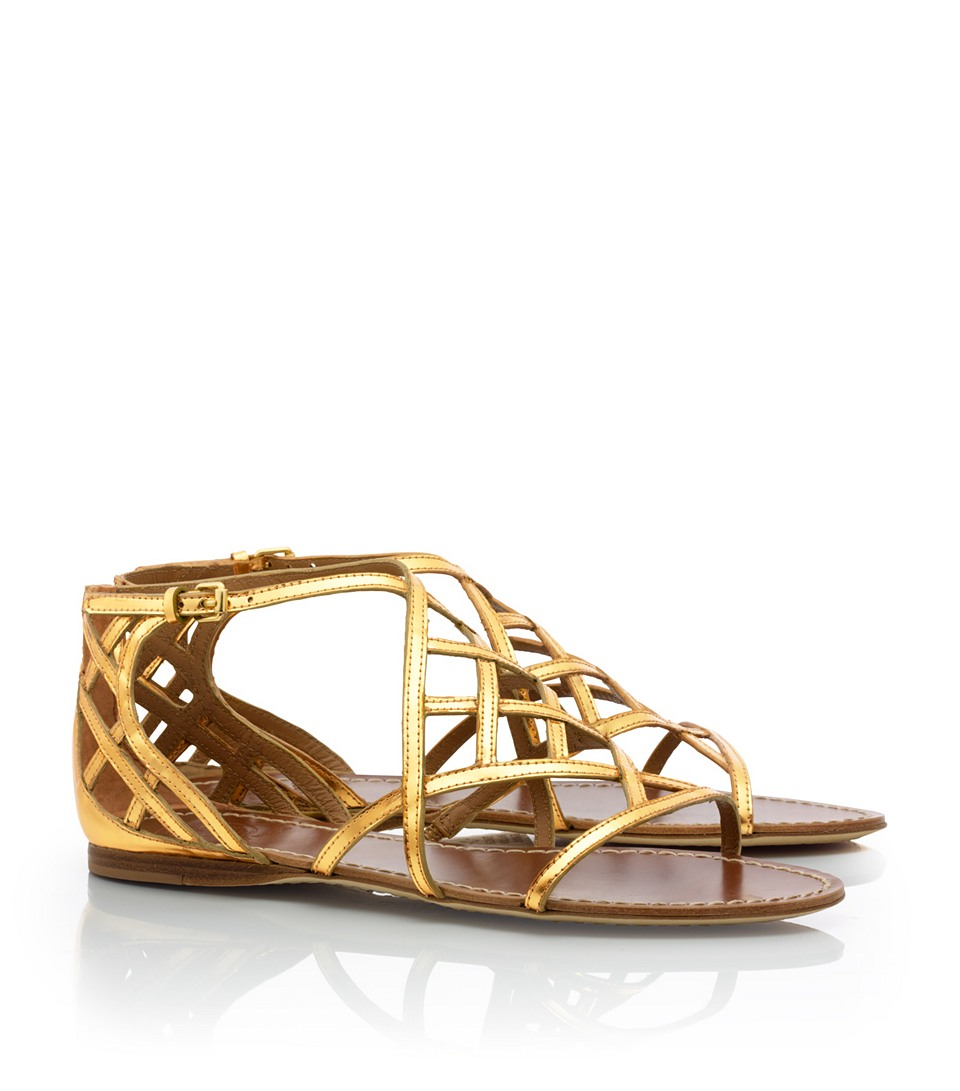 tory burch amalie flat sandal in gold lyst. Black Bedroom Furniture Sets. Home Design Ideas