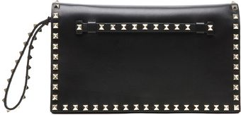 Valentino Rockstud Flap Bag Clutch in Nero - Lyst