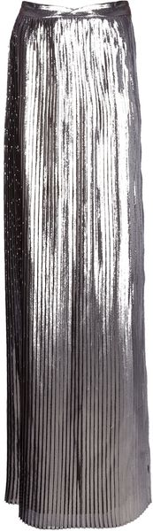 Viktor & Rolf Pleated Metallic Maxi Skirt - Lyst
