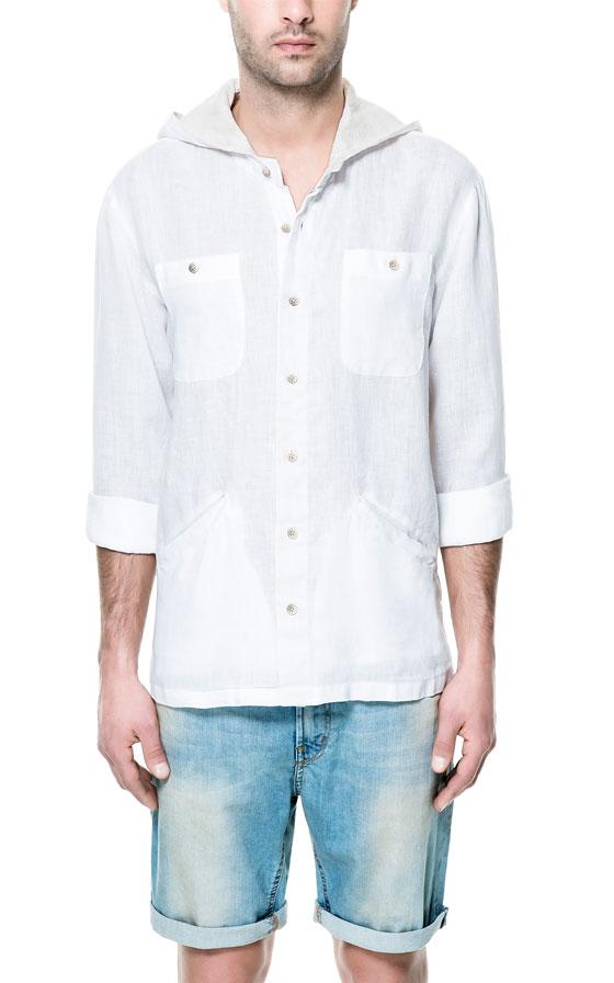 Zara hooded linen shirt in white for men lyst for Zara mens shirts sale