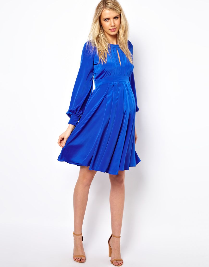 Asos Dress With Bell Sleeve in Blue   Lyst