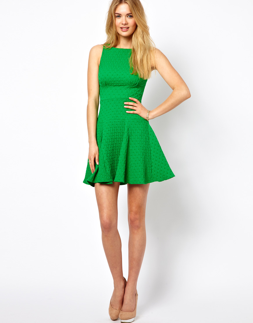 Lyst Asos Closet Waffle Jersey Fit And Flare Dress In Green