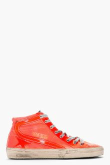 Golden Goose Deluxe Brand Neon Orange Leather Canvas Slide Sneakers - Lyst