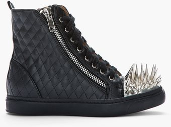 Jeffrey Campbell Black and Silver Studded Toe Quilted Adams Sneakers - Lyst