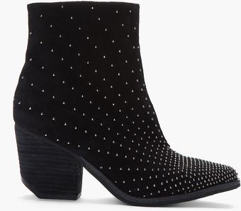 Jeffrey Campbell Black Suede Studded Pointy Toe Boots - Lyst