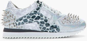 Jeffrey Campbell Iridescent Grey Jazzed Leopard Studded Sneakers - Lyst