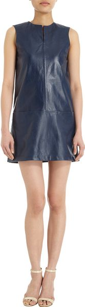 Jil Sander Leather Shift Dress - Lyst