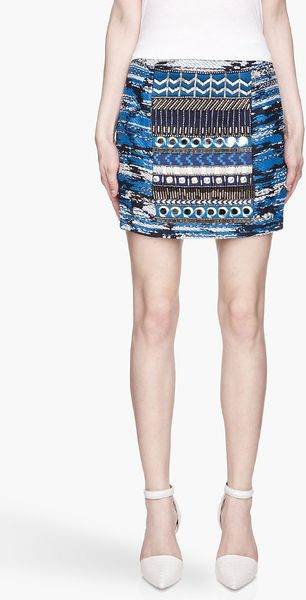 Matthew Williamson Blue and Gold Embroidered Taj Tapestry Mini Skirt - Lyst