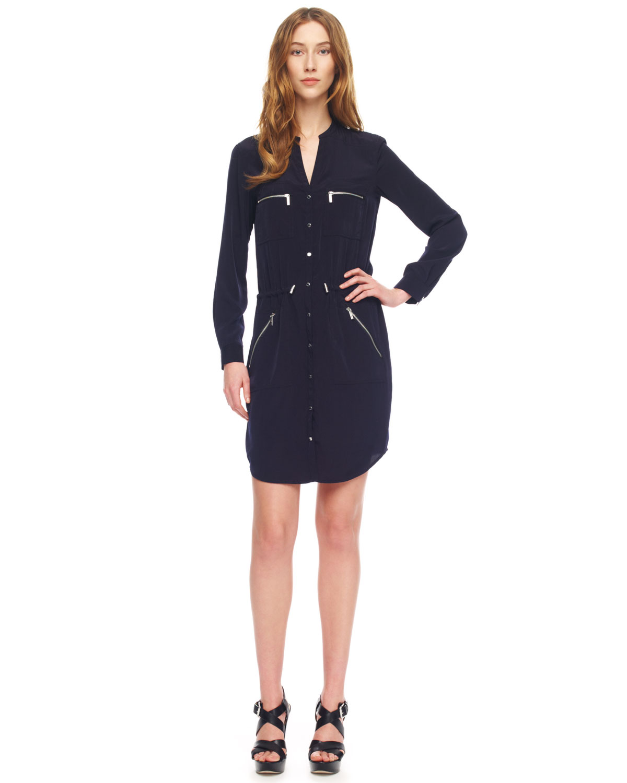 michael michael kors zip pocket shirt dress in blue navy lyst