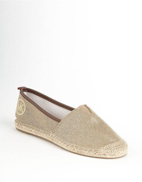 michael michael kors meg espadrille flats in gold lyst. Black Bedroom Furniture Sets. Home Design Ideas