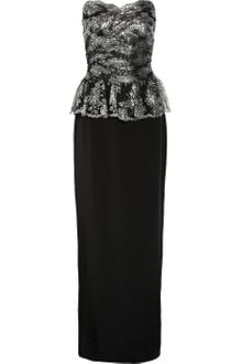 Notte By Marchesa Lace-Embellished Silk Gown - Lyst