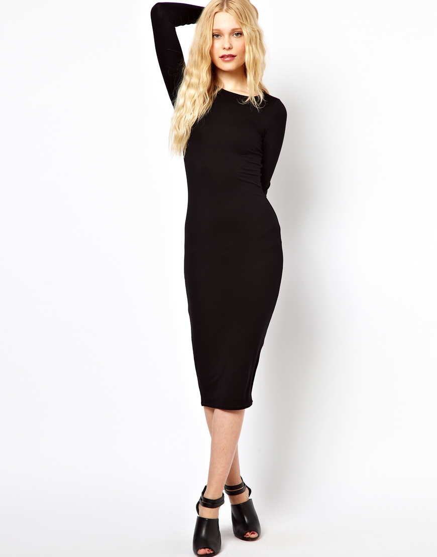 Lyst - River Island Longsleeve Column Midi Dress in Black