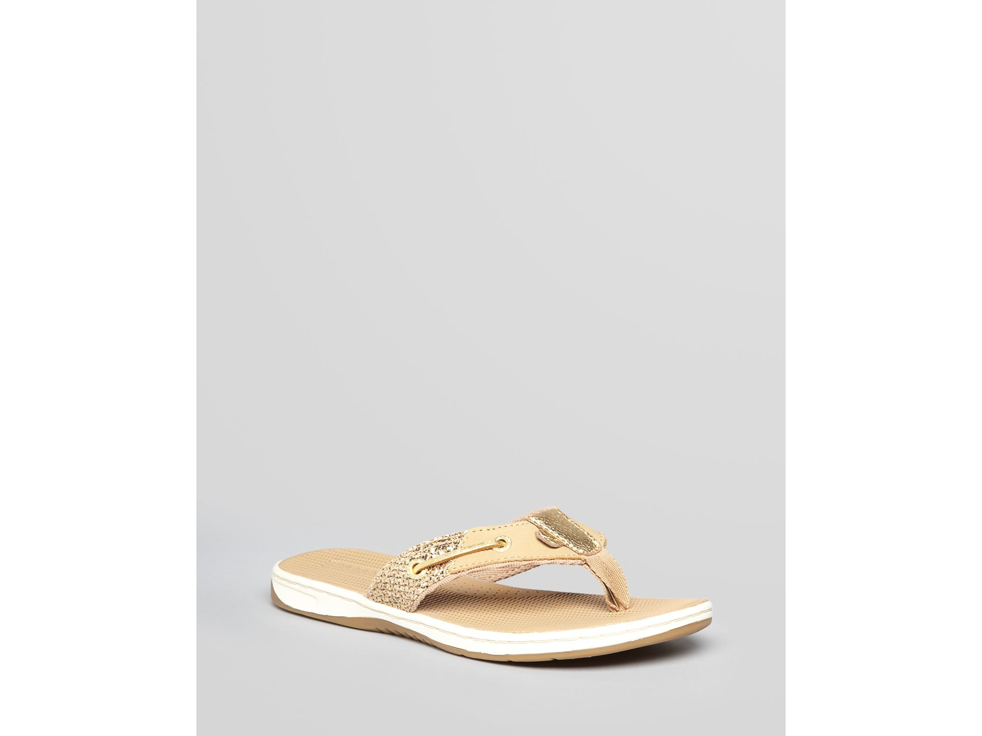Sperry Top Sider Thong Sandals Seafish Flip Flop In Gold