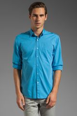 Steven Alan Reverse Seam Shirt in Sea - Lyst