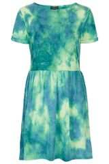 Topshop Neon Tie Dye Mini Dress - Lyst