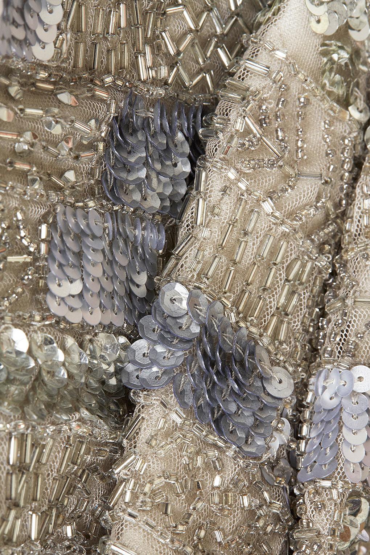 87e33b6e1a2 TOPSHOP Grid Sequin High Neck Crop Top in Gray - Lyst