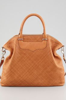 Rebecca Minkoff Bonnie Box Woven Leather Satchel Bag - Lyst