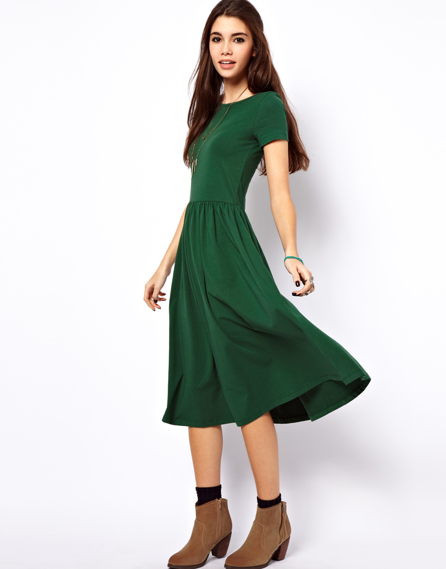Asos Midi Dress With Short Sleeves In Green Lyst