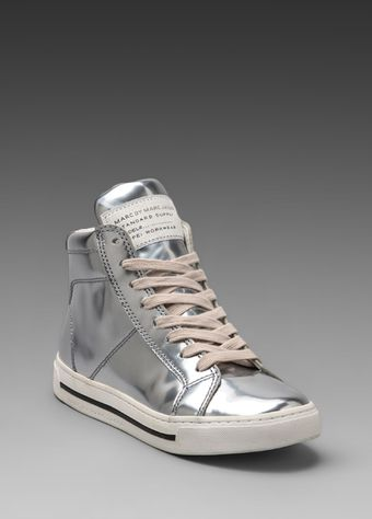 Marc By Marc Jacobs Mirror Reflective High Top Sneaker in Metallic Silver - Lyst