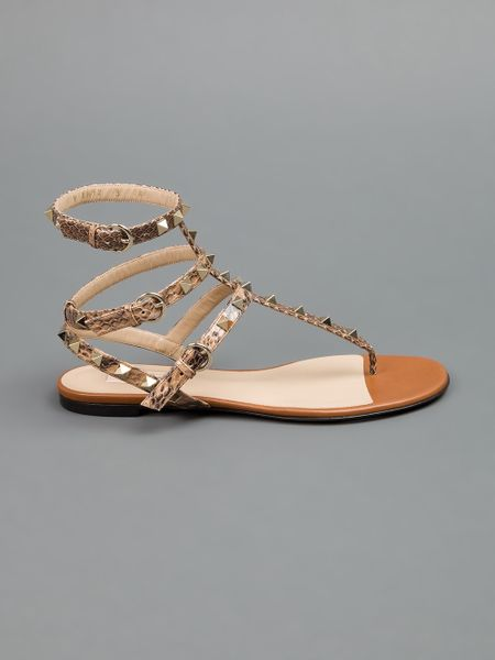 Valentino Studded Sandal In Brown Lyst