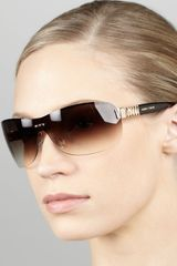 Jimmy Choo Gradient Shield Sunglasses Browngolden Havana - Lyst