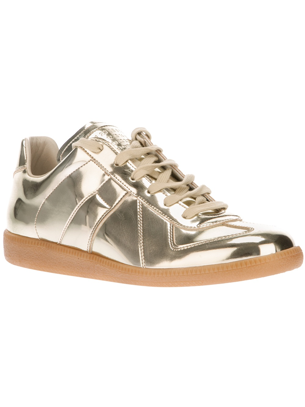 Maison martin margiela metallic replica sneaker in silver for Replica maison martin margiela