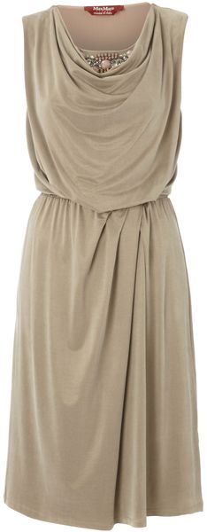 Max Mara Studio Diogini Belted Cowl Neck Dress with Jewel Detail - Lyst