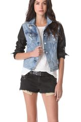 Rag & Bone The Jean Jacket with Leather Sleeves - Lyst