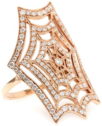 Stone 18kt Pink Gold Spider Spirit Ring with White Pavé Diamonds - Lyst