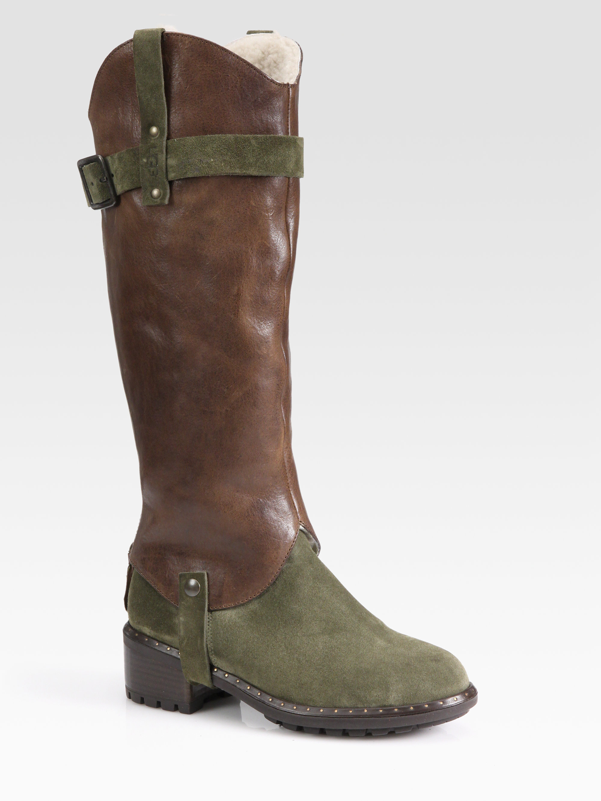 ugg cavalieri leather suede convertible knee high boots in